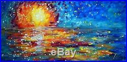 Ocean Sunset 48x24 Original Painting Large Canvas MAUI HAWAII Art Luiza Vizoli