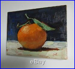 Oil Painting on canvas. Clementine With a Leaf. Still Life Original. J Smith