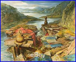 Oil on Canvas Original Signed Painting by Samuel Bak River War Unique Art