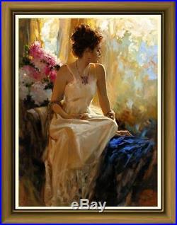 Oil painting Art Original Impressionism Portrait Flower girl on canvas 24x36