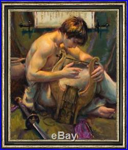 Oil painting original Art Portrait boy on canvas 24x36inch