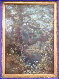 Original 1800s Signed Oil Painting on Linen Canvas, Impressionist Landscape, Frame