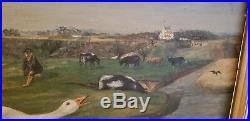 Original 19th Century Oil On Canvas Folk Art Farm Geese Signed N. GREEN