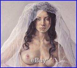 Original AKT Nude Veil Oil on Canvas Öl auf Leinwand 60X80com by Haibin Li