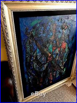 Original Abraham Rattner Oil on Canvas Figures with Nets c1951 With Custom Frame