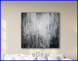 Original Abstract Painting 36x36 Large Canvas Art Gray/White Textured Abstract