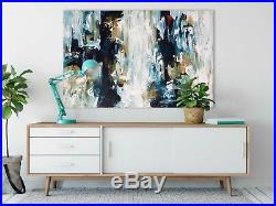 Original Abstract Painting On Canvas Ready To Hang Oil Acrylic Art 36x24 Inch