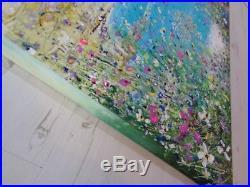 Original Acrylic Oil Painting On Deep Canvas Coastal Flowers 90 X 90 CM