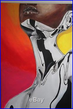Original African American Black Art Painting on 24 x 36 CANVAS 1 of 1 signed