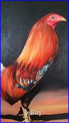 Original American Gamefowl Oil Painting on Canvas / Pintura al Oleo Gallo Fino