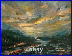 Original American Tonalist Painting Glowing Sunset Sky Landscape Tonalism Style