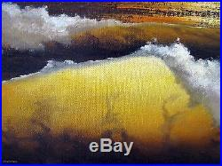 Original Anthony Casay Framed Oil On Canvas Painting 24 X 48 Golden Shores