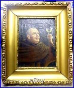 Original Antique Oil On Canvas Painting of A Monk With A Wine Glass Size 14 X 12