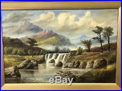 Original Antique Welsh Oil On Canvas Painting HG Massey Waterfalls Capel Curig