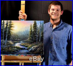 Original Art Colorful Landscape Painting on Canvas Signed by Chuck Black