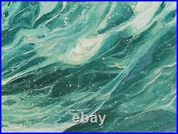 Original Artwork oil painting Ocean wave on stretch canvas, nature 16''x20