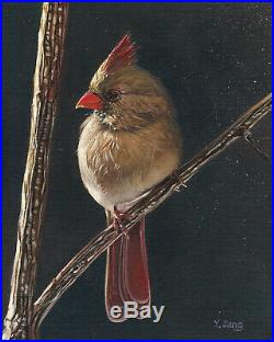 Original Artwork oil painting female Cardinal on canvas panel, bird 8x10