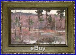 Original Bernard Corey Oil Fishing on a Wooded Stream