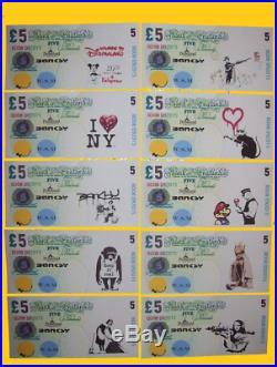Original Dismal Sterling £5 Canvas Set X10 Notes un Signed Art BANKSY Dismaland