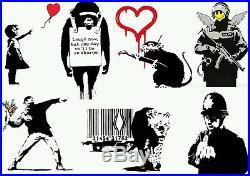 Original Dollar Note Canvas art un signed + free Banksy Dismaland flyer