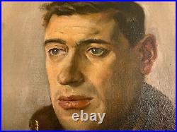 Original English Oil Painting Portrait of Gentleman on Canvas Circa 1947