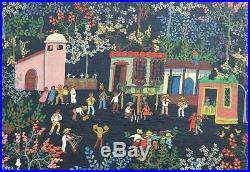 Original Folk Art Oil on Canvas of El Baile de Las Tura Venezuelan Edel Ritter