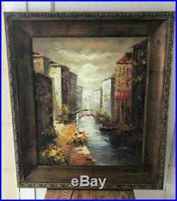 Original Framed Oil On Canvas Painting Venetian Bridge, Venice, Italy