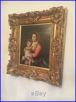 Original Framed Oil Painting on Canvas Madonna and Child Signed est c. 1890's