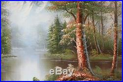 Original Framed Oil Painting on canvas Landscape, Mountains view, river, Signed