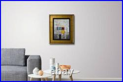 Original Framed Painting Acrylic Abstract Art on Canvas by Hunoz. 14x 18