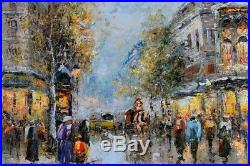 Original French City Landscape Oil Painting, Framed Impressionist, on Canvas