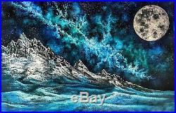 Original Galaxy Moon Landscape Oil Painting Art 36x24 Canvas Bob Ross Method