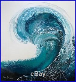 Original Hawaiian Ocean Wave Pour Painting Fluid Art Acrylic on Canvas Signed