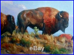 Original Indian Western Art Buffalo Bison Oil Painting on CanvasSigned 30 X 40