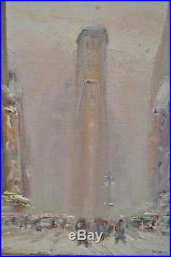 Original Johann Berthelsen Nyc Flatiron Scene Signed Oil On Canvas Painting #2/4