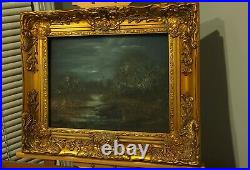 Original Landscape of NIGHT painting tonalism 11x14 Framed signed Nocturne art