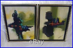 Original MATSON 10 x 13 Mid Century Modern Painting Abstract Oil on Canvas