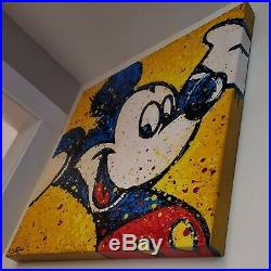 Original Mickey Mouse disney art painting on large gallery canvas