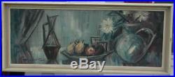 Original Mid Century Impressionist Oil on Canvas Still Life Illegibly Signed