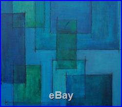 Original Mid Century Oil on Canvas Geometric Abstract Signed Alice Ong