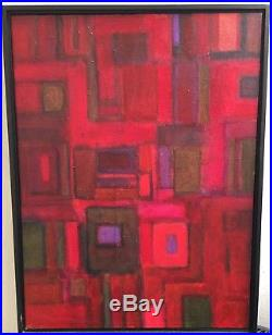 Original Oil Abstract Mid-Century Modern Painting On Canvas