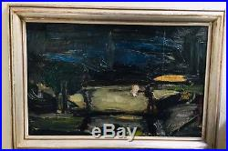 Original Oil Abstract Mid-Century Modern Painting On Canvas Signed by Artist