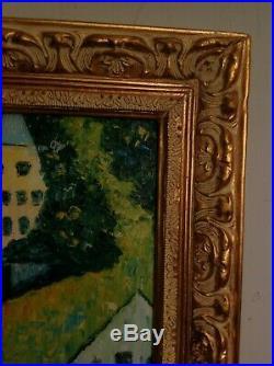 Original Oil On Canvas Framed Fauvist Van Gogh Styled Golden Frame Houses Lake