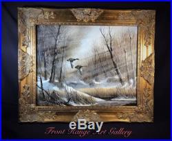 Original Oil On Canvas Listed Artist Anton J. Znaniecki Waterfowl Fine Art