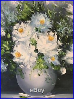 Original Oil On Canvas Painting Picture Still Life White Flowers In Vase Signed