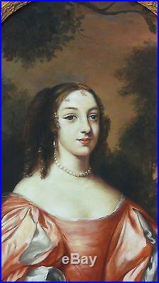 Original Oil On Canvas Portrait Of Young Noble Woman In Gilt Period Wood Frame