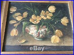 Original Oil On Canvas Vintage Ornate Frame Still Life Flowers In Pot Vase Vtg