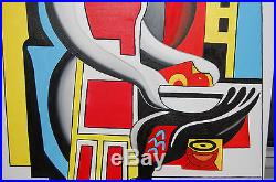 Original Oil Painting Jean & the Bird on Canvas 30 x 24 FRAMED Art/Abstract