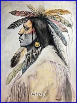 Original Oil Painting Native American Indian WARRIOR South Western Art Santa Fe