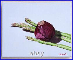Original Oil Painting Of Asparagus & Red Onion-Kitchen Art-Still Life-Realism